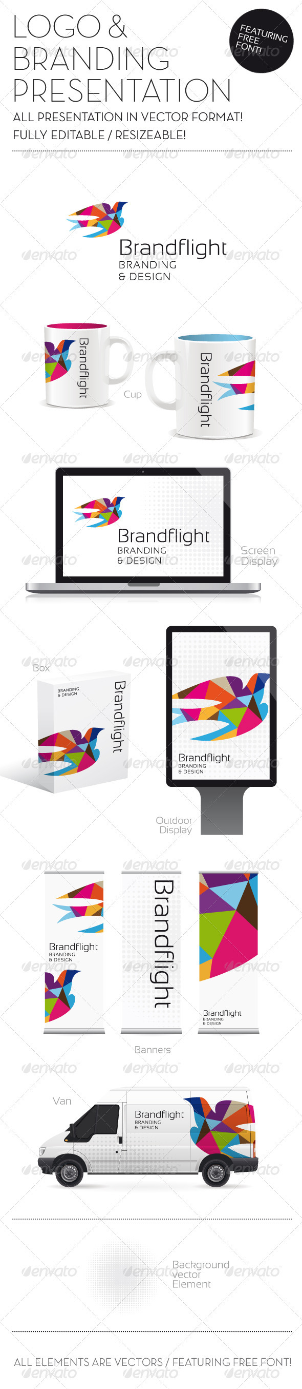 logo template & branding presentation including banners, screen, Powerpoint templates