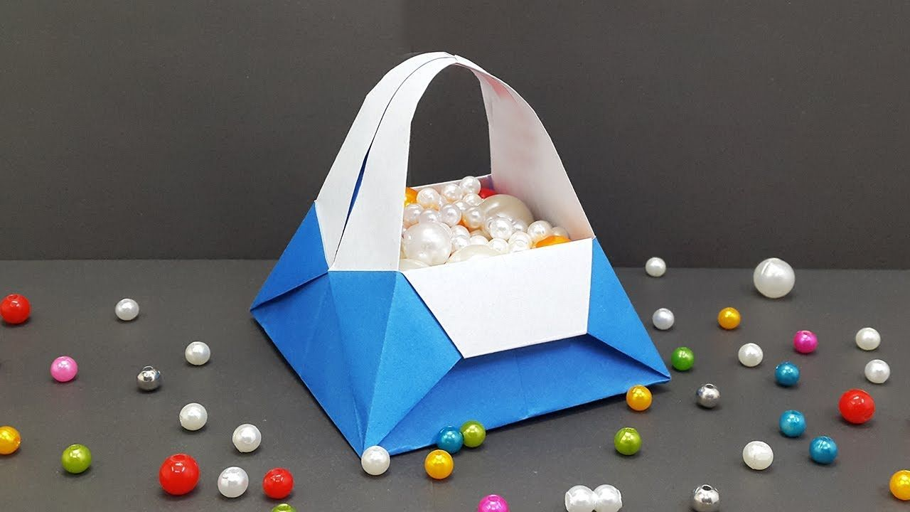 How to make Paper Basket easy for Kids (Origami Basket) - DIY Paper ...