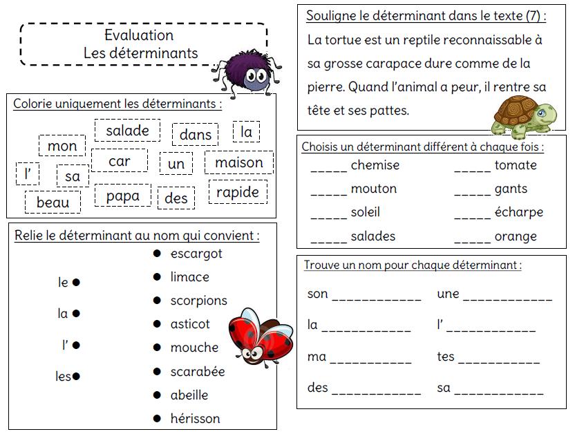 Evaluation Sur Le Determinant L Ecole De Crevette Les Determinants Exercice Francais Ce1 Exercice Ce1