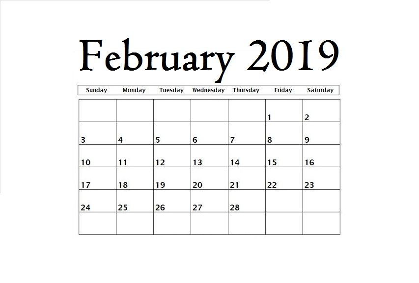 Pleasing February 2019 Blank Template Maxcalendars Desk Calendars Beutiful Home Inspiration Truamahrainfo