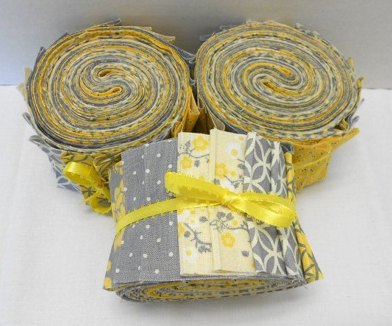 Yellow and Gray Quilt Fabric Jelly Roll Strips SEW FUN