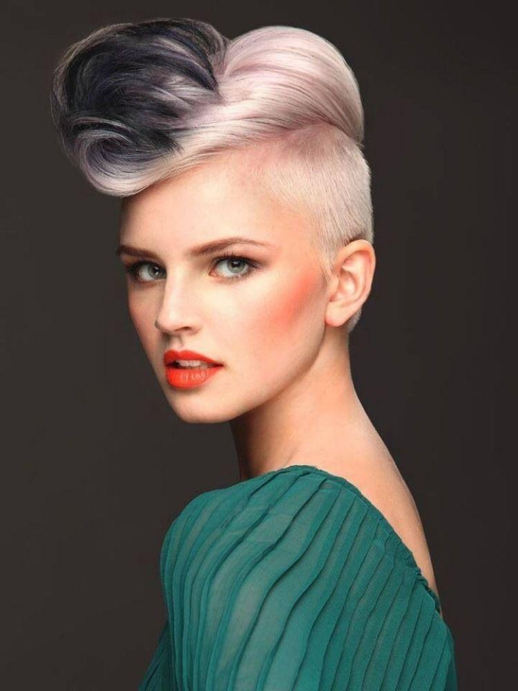undercut frisur wei blond mit lila gef rbten spitzen haarschnitt ideen frisuren und