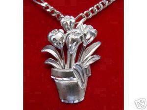 Silver Garden Flower Pot Pendant Charm Summer Jewelry Sterling Silver 925 Jewelry