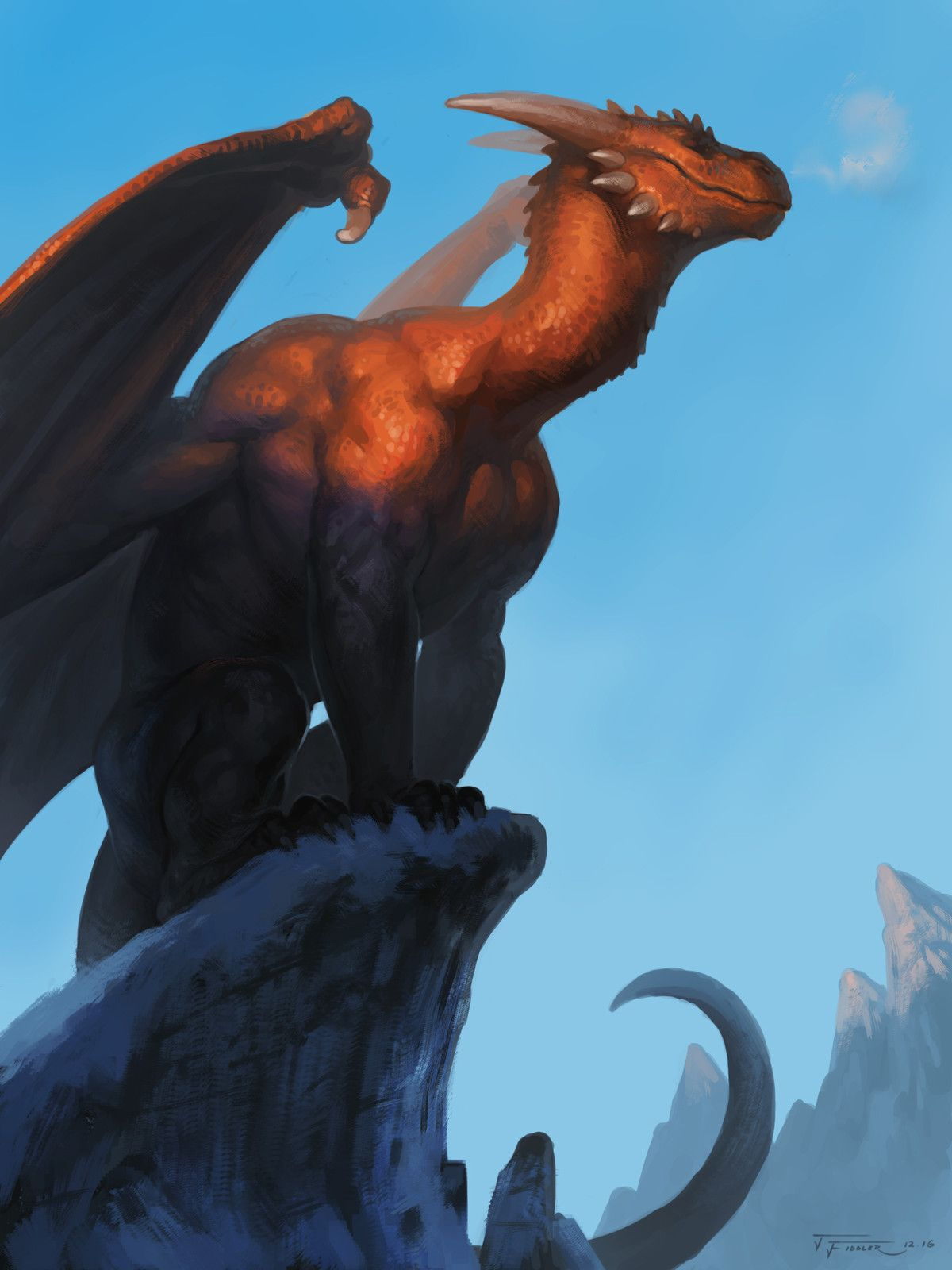 Dragon in the mountains, Taran Fiddler on ArtStation at https://www.artstation.com/artwork/6xOor