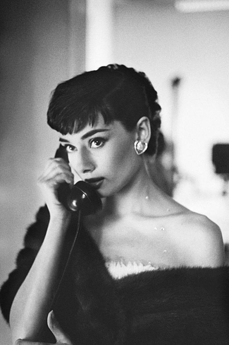 Bob Willoughby – Audrey Hepburn, on Telephone, Paramount Studios – B&W Estate Print