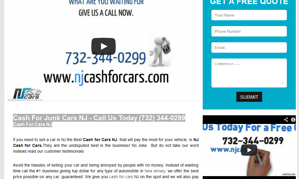 Cash For Junk Cars NJ Call Us Today (732) 3440299 Cash