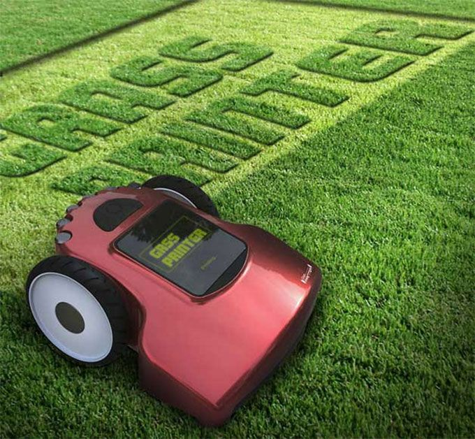 Grass Printer This Concept For A Robotic Lawnmower Would Allow Users To Program In Custom Graphics On Its Touchscreen Inter Lawn Mower New Gadgets Cool Stuff