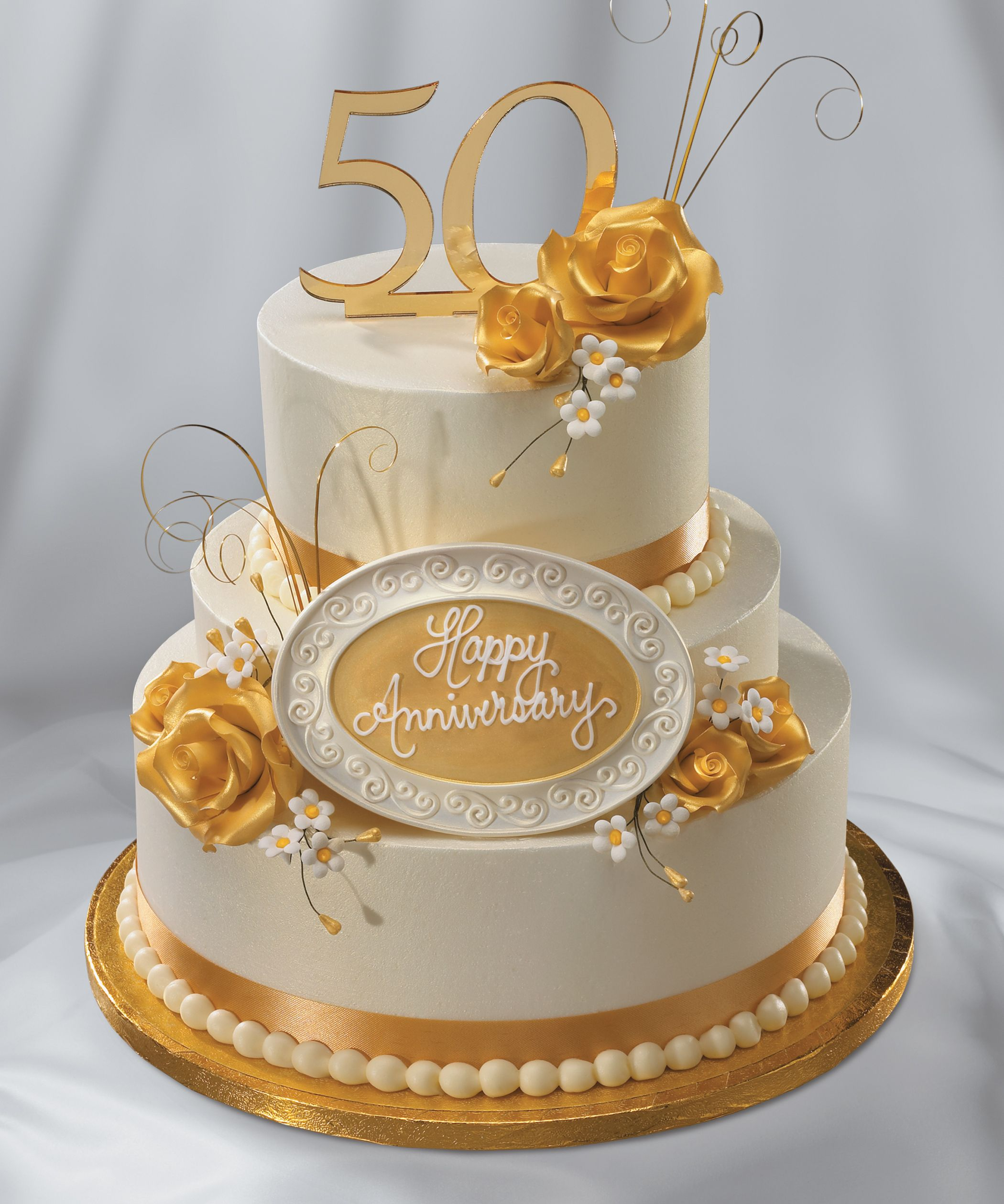 Golden Anniversary 50th Wedding Anniversary Cakes Golden Anniversary Cake Golden Wedding Anniversary Cake
