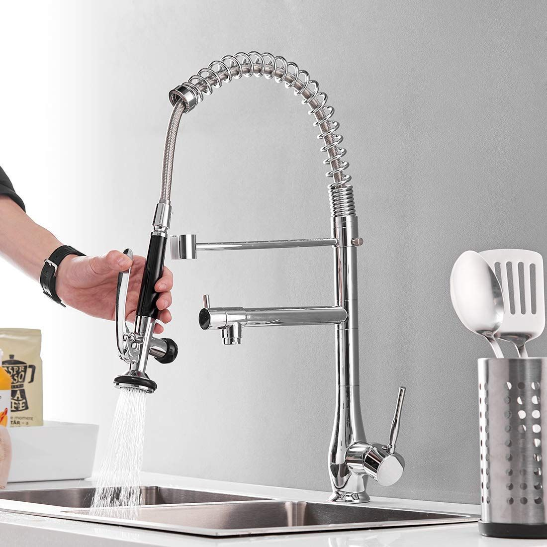 Commercial Pull Down Kitchen Faucet With Sprayer Gimili High Arch Single Hole Single H Kitchen Sink Faucets Chrome Kitchen Faucet Kitchen Faucet With Sprayer