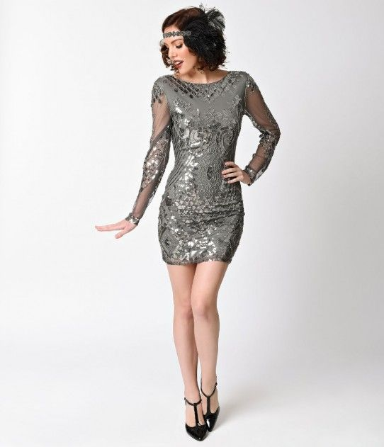 1920s Style Silver Grey Sequin Sheer Long Sleeve Short Fler Dress 20s Fashion Dresses