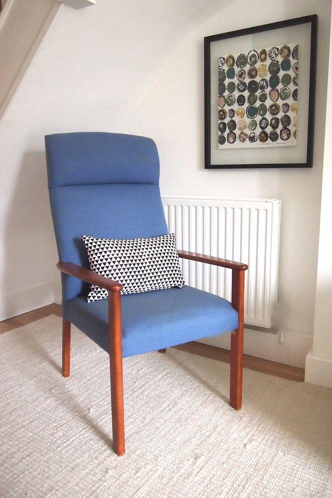 Best Vintage Retro Parker Knoll Denim Blue Armchair Reading Chair Heals Era To Be Recivered 400 x 300