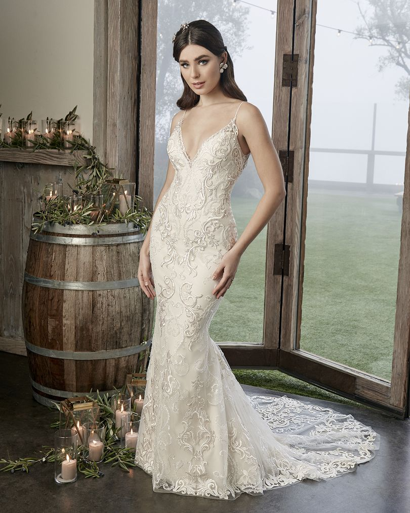 Style 2424 Brooklyn Embroidered And Sequined Lace Wedding Dress By Casablanca Bridal In 2020 Wedding Dresses Casablanca Bridal Lace Gown Styles