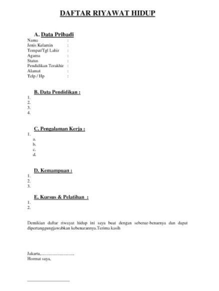 Pin Oleh Contoh Surat Lamaran Kerja Di Contoh Daftar Riwayat Hidup