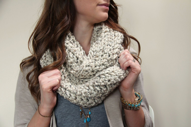 Chunky Infinity Scarf Loop OATMEAL Crochet Long  by KnottyMonkey, $28.00