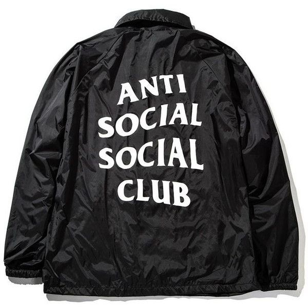 f7d8c7c53357 Anti Social Social Club ASSC Coaches Windbreaker Light Jacket Black ( 45) ❤  liked on Polyvore featuring activewear