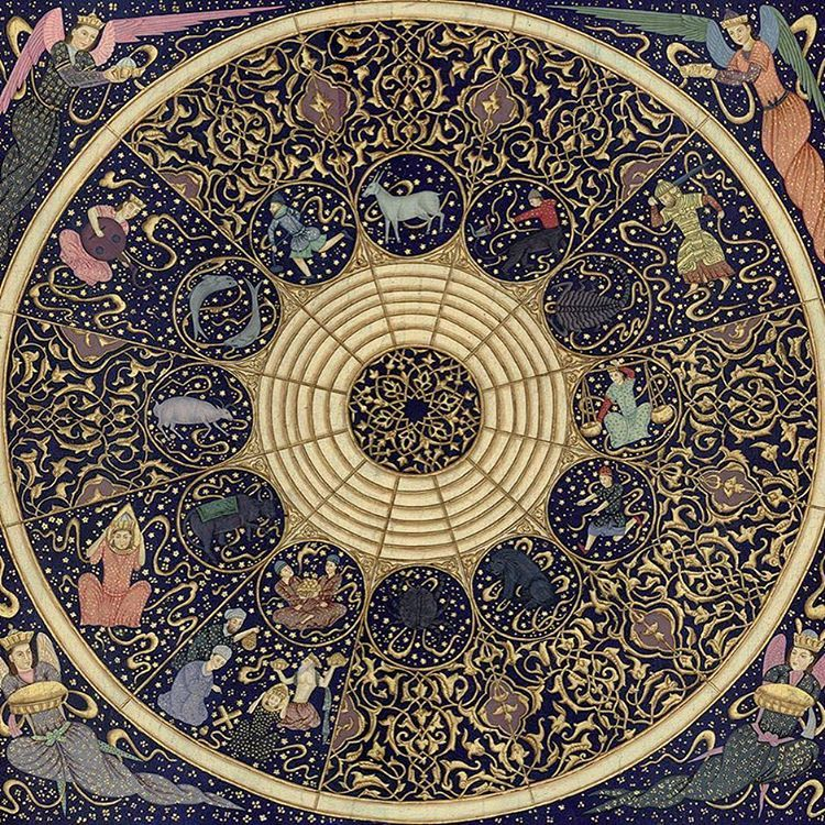 Persian table top scene is from a 15th century manuscript depicting the zodiac with its astrological symbols