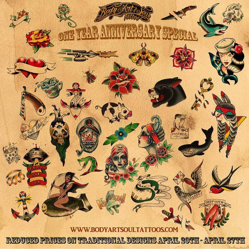 Traditional tattoo flash examples contact us for more for How to email a tattoo artist