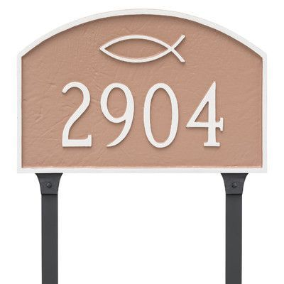 Montague Metal Products Icthus Prestige Arch Large Address Plaque Finish: Hunter Green / Gold