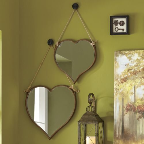 Set Of 2 Heart Mirrors From Through The Country Door Ni711347 119 99 Heart Mirror Mirror Wall Decor Mirror Wall