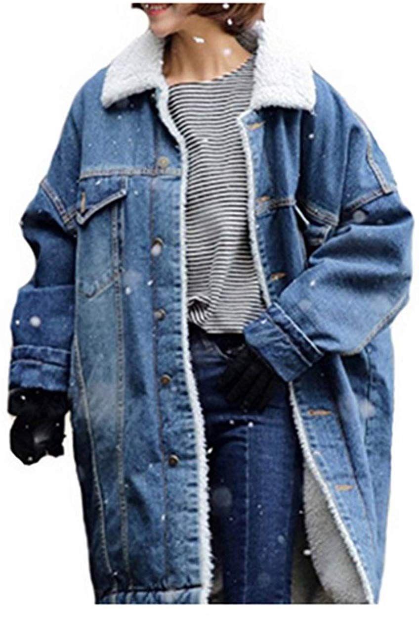 Damen Lange Jeans Jacke Super Waschung Denim