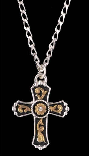 c9c679bef Western Tri-Color Cross Necklace - Silver tone cross with black and gold  tone inlay pendant with clear crystal - 18