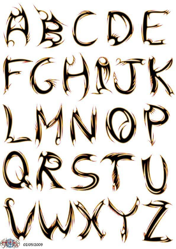 Tribal Lettering : tribal, lettering, Tribal, Lettering, Letters,, Alphabet, Fonts,, Graffiti