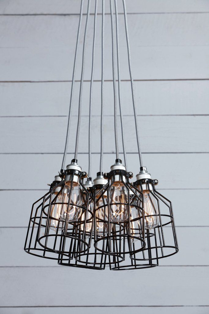 Industrial Chandelier - Black Wire Cage - 7 Light Cluster | parents ...
