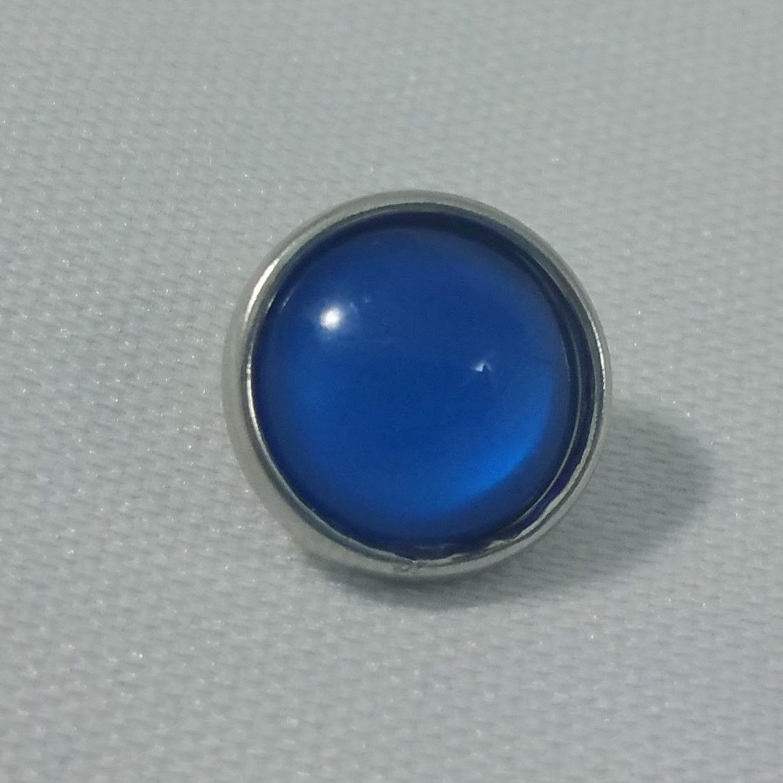 1 PC - 12MM Blue Glass Dome Silver Charm for Candy Snap Jewelry Limited Edition CC0068
