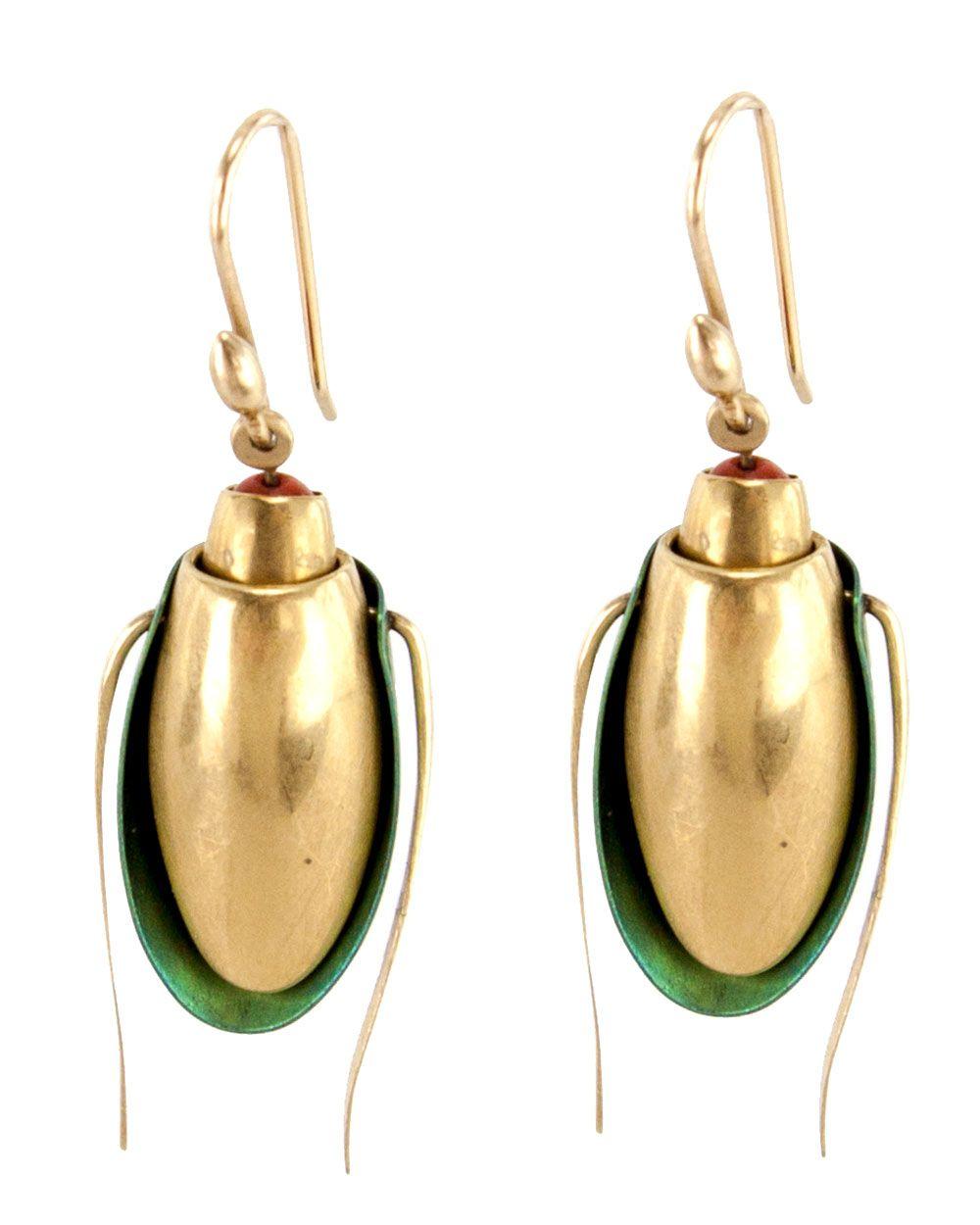 d1a039f1c Ted Muehling | Gold Scarab Niobium Jacket Earrings | Earrings | Jewelry