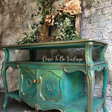 French Provincial Entryway Accent Table – French Country Table – Shabby Chic Table – Vintage Hollywood Glam Table – Painted Furniture by DareToBeVintage