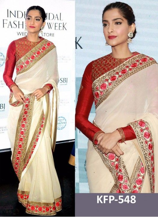 9bc6cb3e5e Sonam Kapoor White & Red Georgette Replica Saree | saree | Bollywood ...