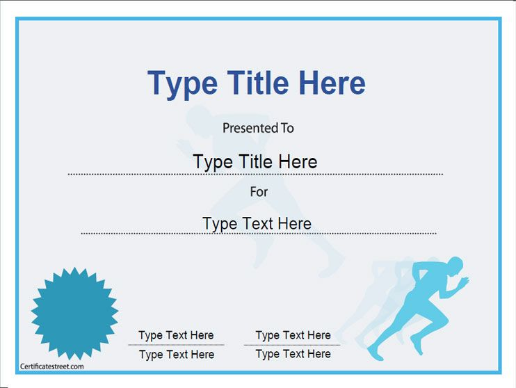 Sports certificate achievement in running for Running certificates templates free