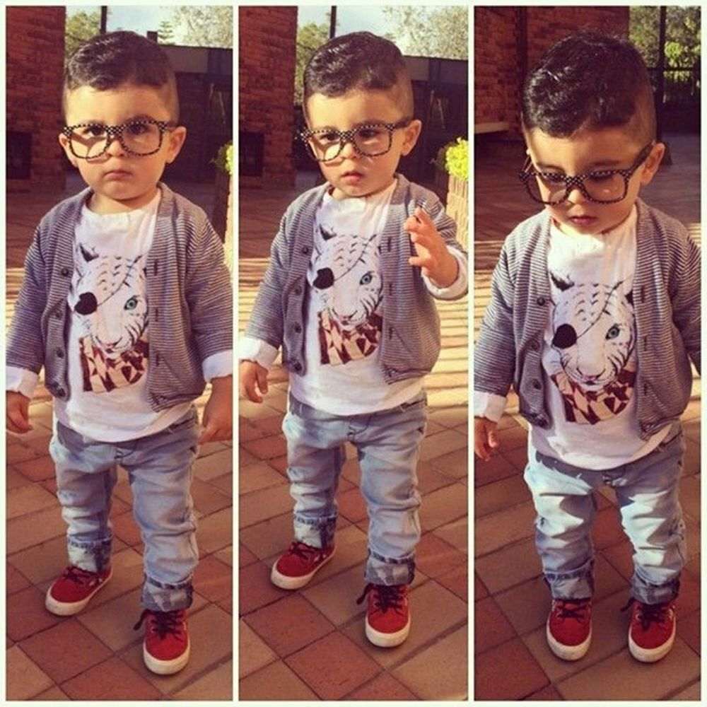 Denim Pants Outfits Clothes Suit Coat 3Pcs Sets Kids Baby Boys Dress T-Shirt