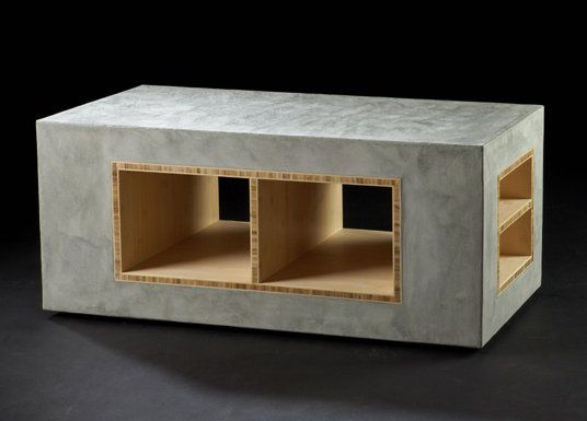 concrete and wood furniture. rolling concrete furniture from oso industries and wood