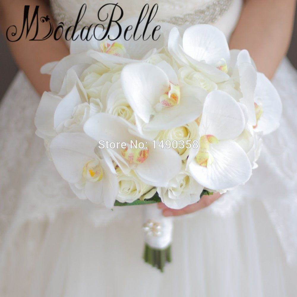 2017 Beauty Phalaenopsis Roses Artificial Wedding Bouquets Crystal