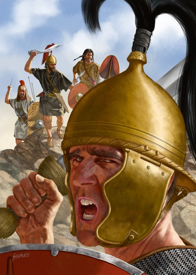 Iberian Ambush 130 BC  Note the bronze helmet of the Roman soldier (foreground). Roman helmets would be made of iron by the late first century AD, and they plume in the helmet - a vestige of early iron-age warfare - would be abandoned far earlier.