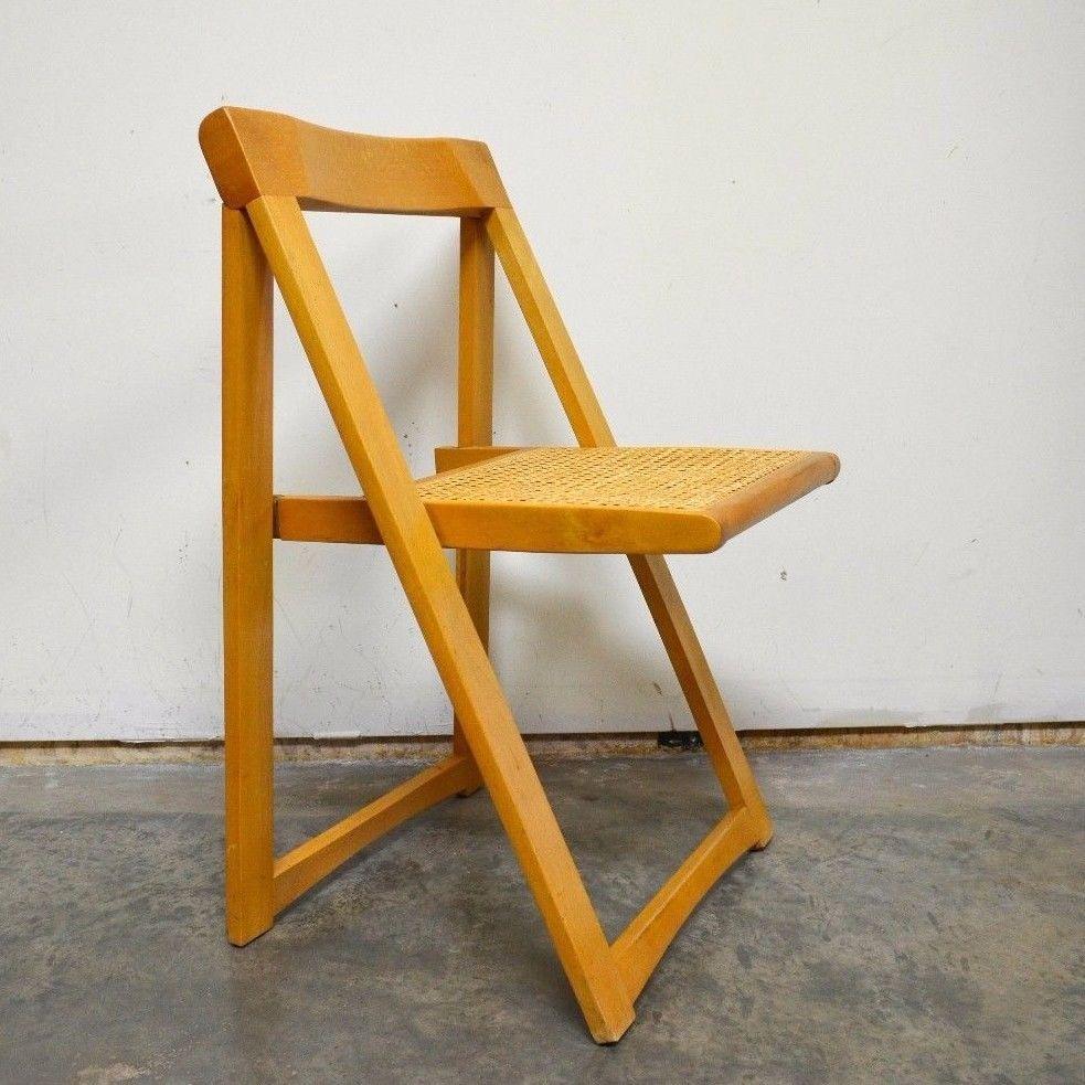 Vintage Mid Century Eames Wooden Slat Cane Folding Chair Romania