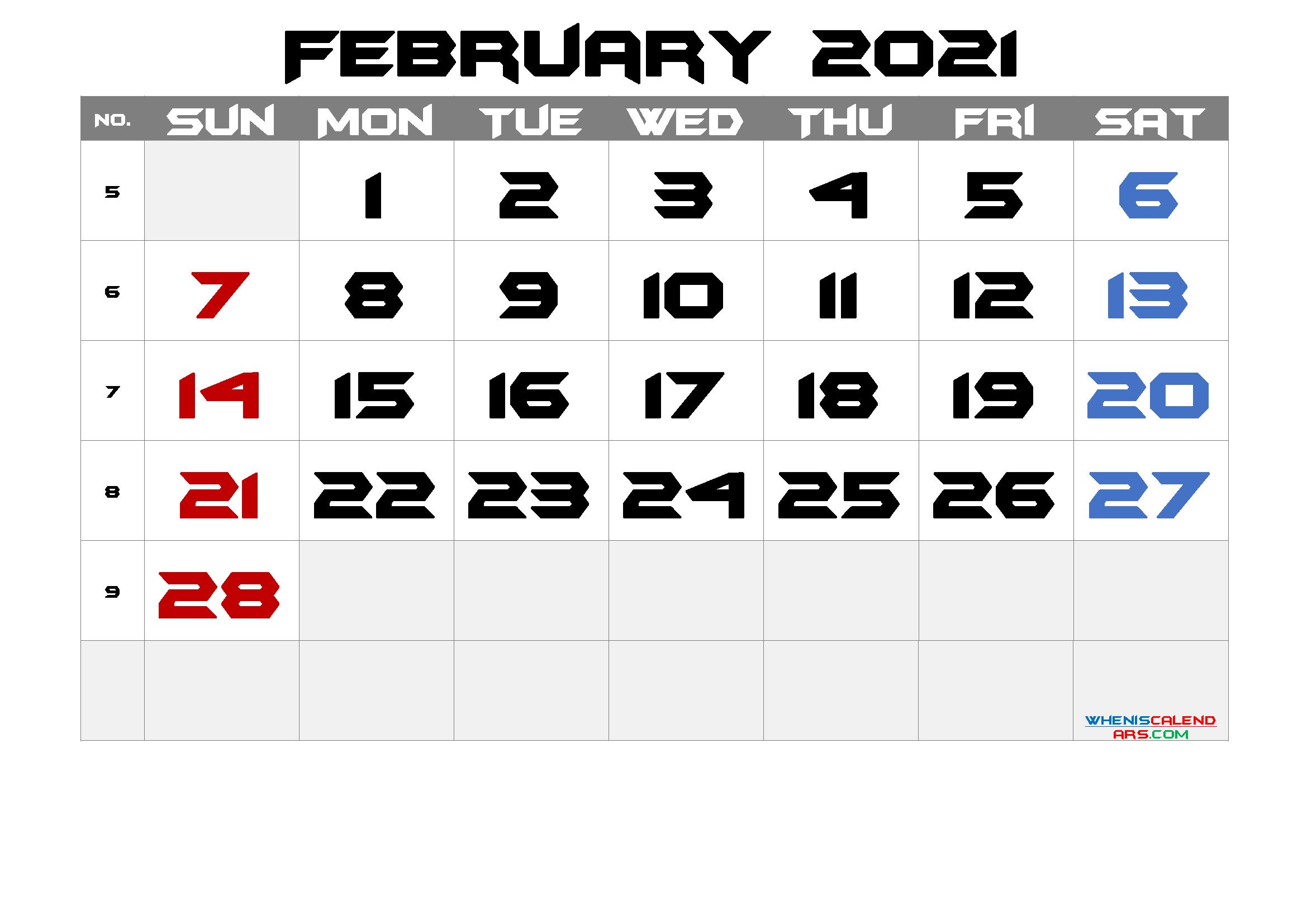 2021 February Free Printable Calendar Free Premium In 2020 Calendar With Week Numbers Calendar Printables Printable Calendar