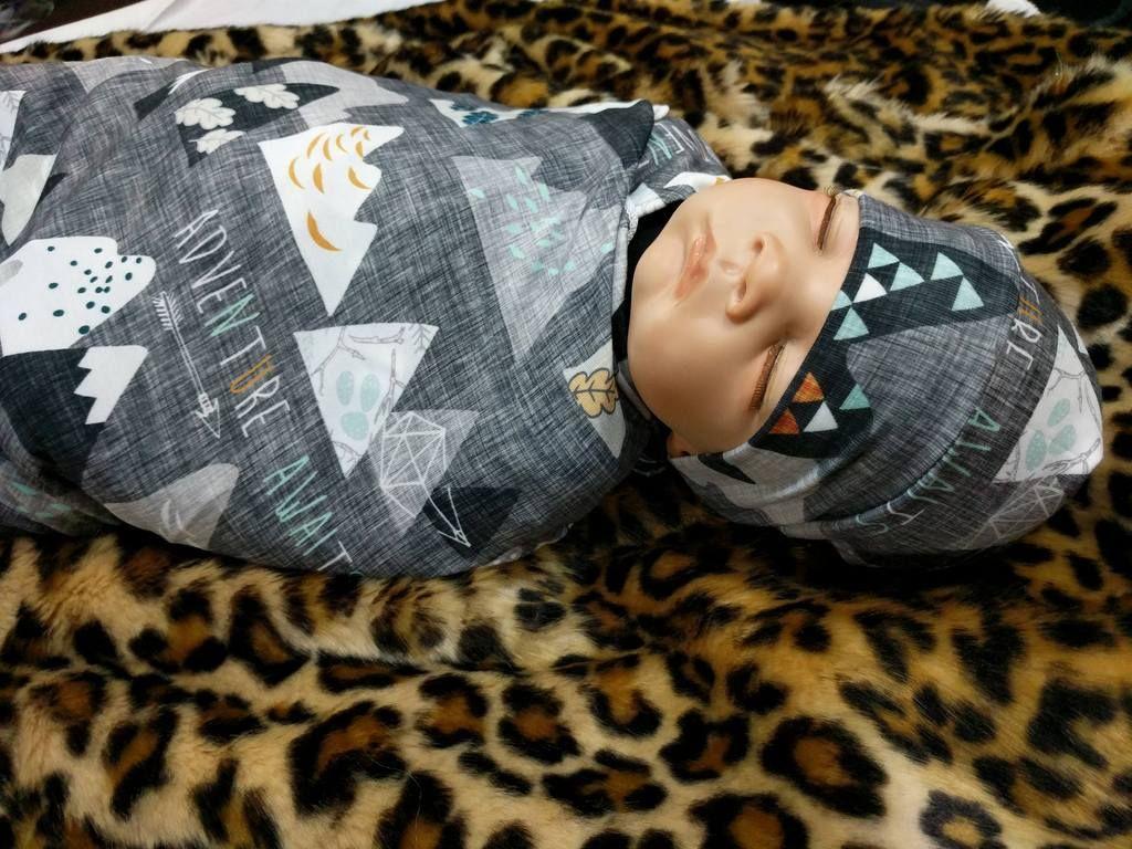 Adventure Awaits Baby Swaddle Blanket + Cuffed Beanie Headband / Baby Boy Swaddle Set #babyboyblankets