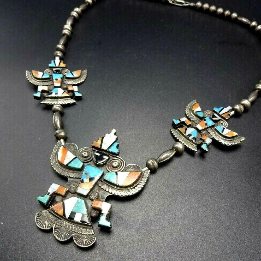 Alonzo Hustito Vintage Zuni Sterling Silver Knifewing Inlay Necklace Turquoise Nativeamerican Bohochic In 2020 Silver Chain Vintage Zuni Charm Bracelet