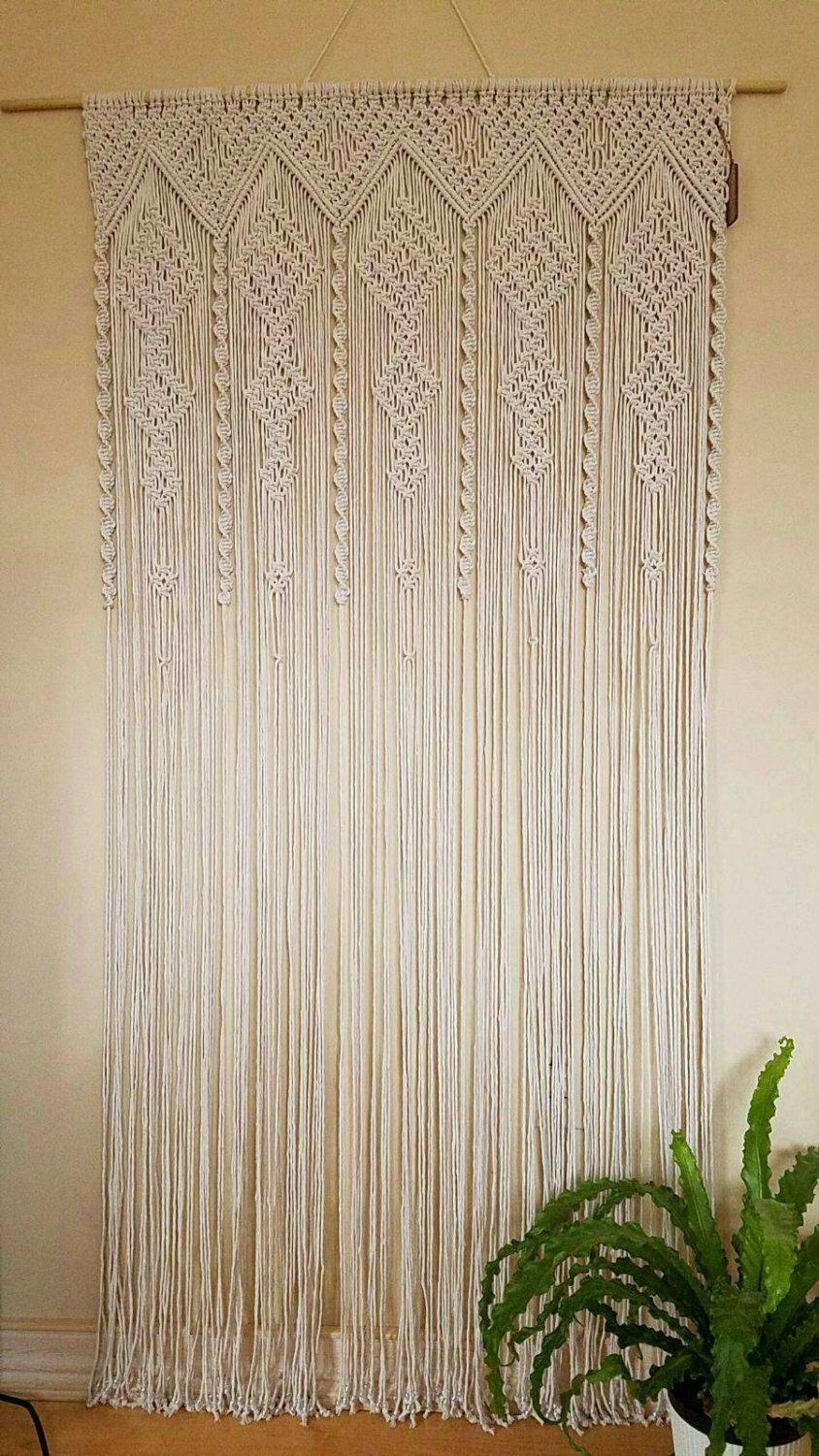 Macrame Curtain Room Divider Door Curtain Retro Wall Hanging Boho Chic Retro Living By Studiosenb Macrame Door Curtain Macrame Wedding Backdrop Macrame Curtain
