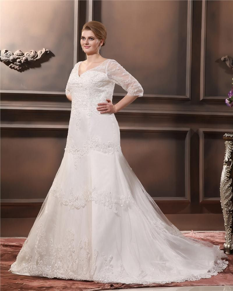 Click To Buy Vestido De Noiva Plus Size Wedding Dresses V Neck