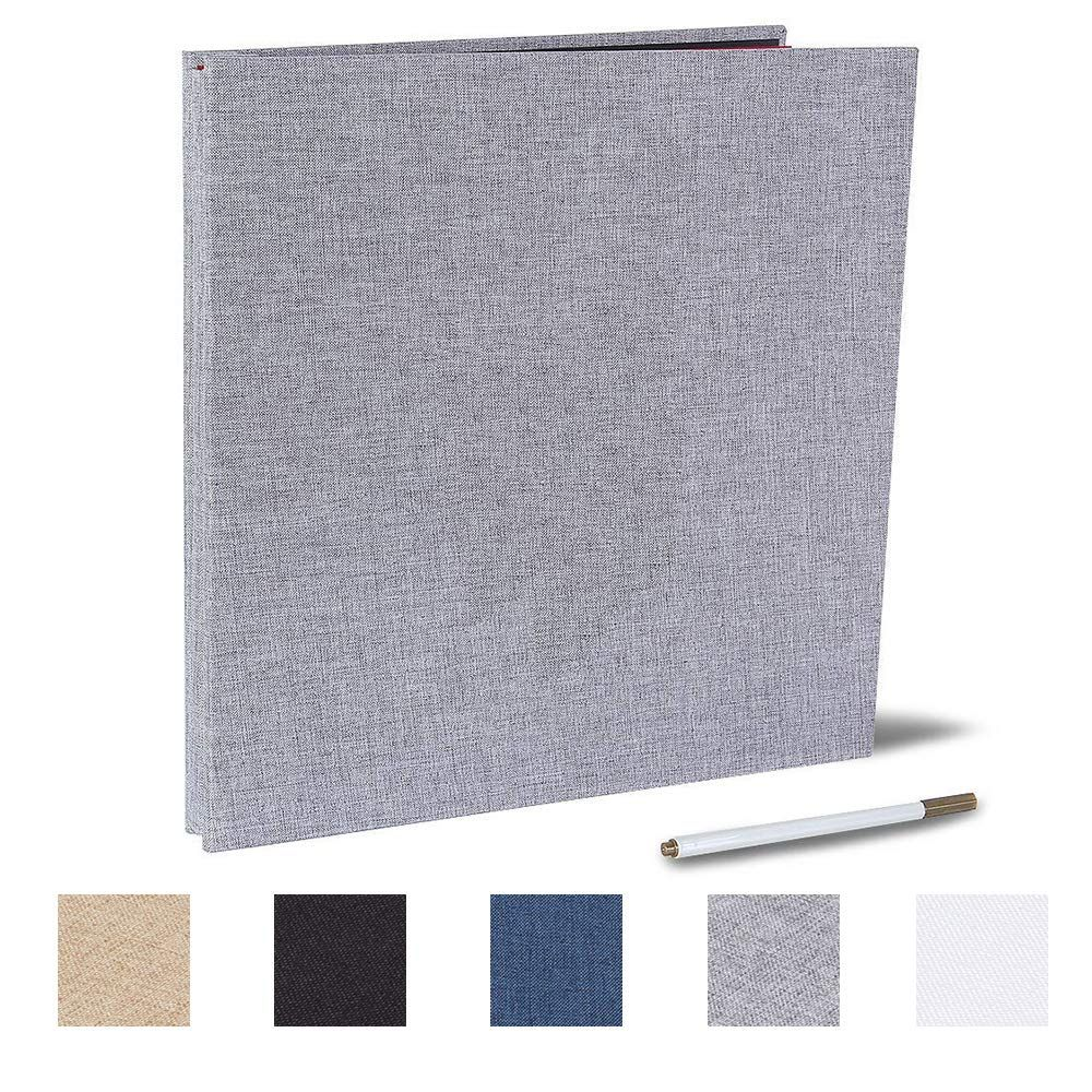 Kleer-Vu Fabric Scrapbook Top Loading Plastic Pages with Heavy White Paper Inserts PostBound with Window Color: White. Size: 12x12 with 10 Seamless