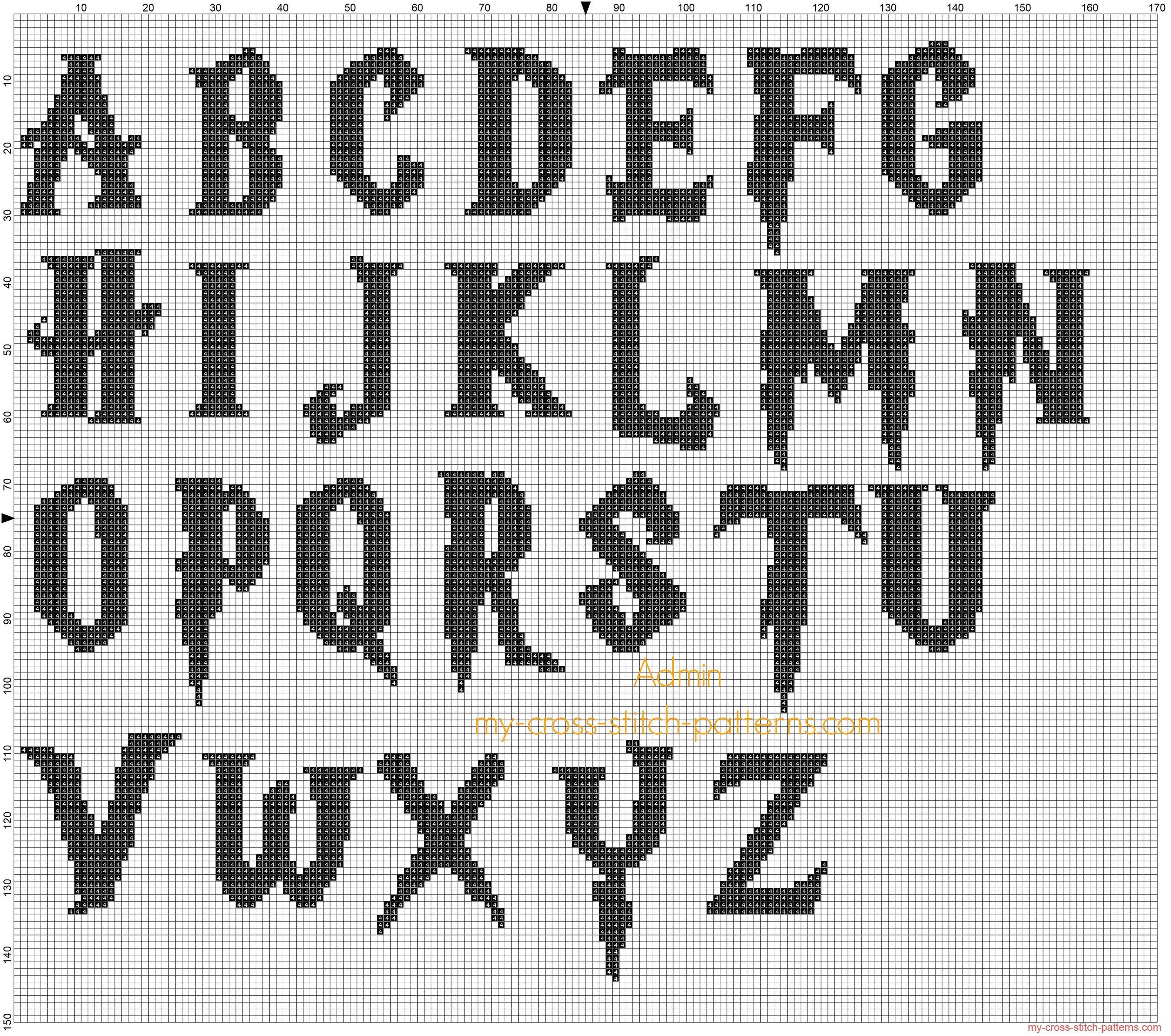 Harry Potter font cross stitch black alphabet   Cross-Stitch ...