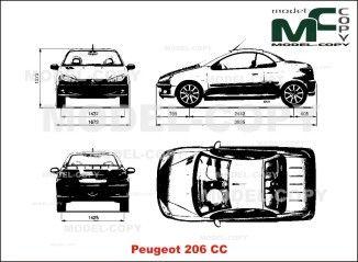 Peugeot 206 Cc Blueprints Ai Cdr Cdw Dwg Dxf Eps Gif Jpg