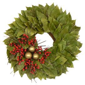 Preserved leaves wreath with faux berries and ornaments in a natural twig base.    - DriedDecor.com
