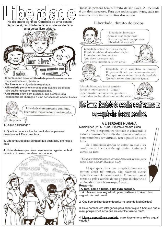 Muito Atividades de ensino religioso liberdade (1) | VALORES | Pinterest  OX17