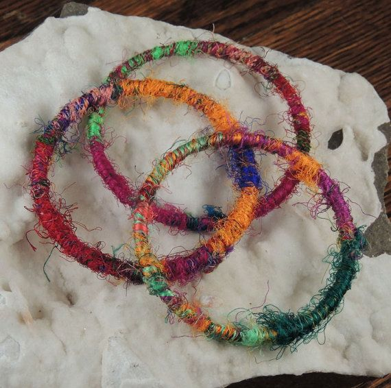 Colorful Silk Bangles  Set of Three by AndromedaDesigns on Etsy, $30.00