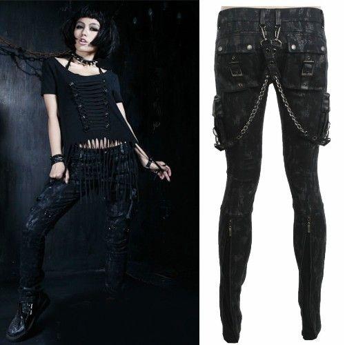 Incredible Men Women Black Slim Fit Boot Cut Military Style Punk Rocker Pants Short Hairstyles Gunalazisus