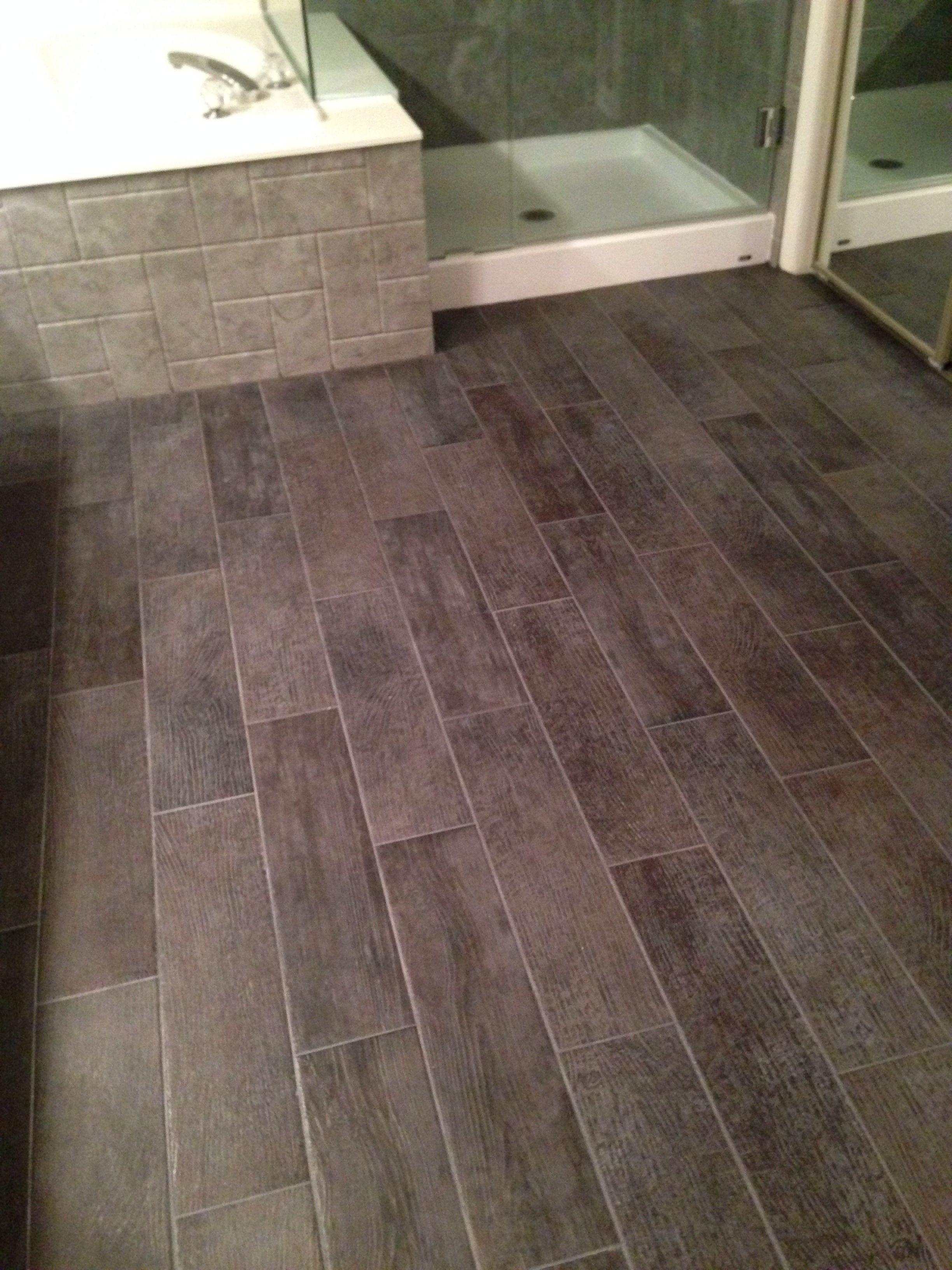 Bathroom floor- 6x24 tiles charcoal gray. Look like wood ...